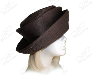 Mr. Song Millinery Satin-Crin 2-Tier Crown Tiffany Brim Hat Body - Brown