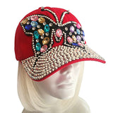 "Rhinestone Encrusted Fitted ""Butterfly"" Baseball Bib-Cap - Red"
