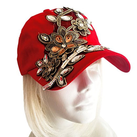 "Rhinestone Encrusted Fitted ""Lace"" Baseball Bib-Cap - Red"