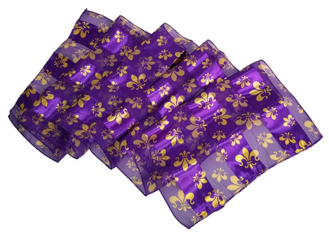 Fleur de lis Satin Opaque & Sheer Panel Scarf - 5 Colors