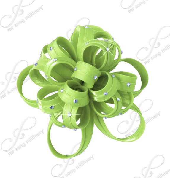 Mr. Song Millinery Satin-Crin Flower Corsage Brooch Hat Pin - Assorted Colors