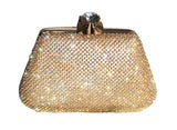 Crystal Rhinestoned Clutch Hand Bag With Case - Gold