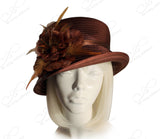 Medium Lampshade Brim Hat Brim With Organza Flora Accent - Brown