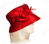 Medium Lampshade Brim Hat With Ribbon and Coque Accent - Red