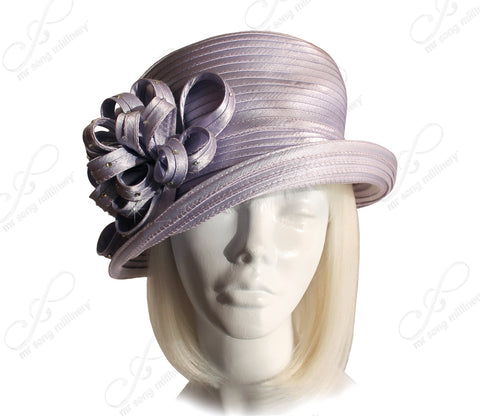 Mr. Song Millinery MediumTiffany Brim Hat Brim With Floral Accent - Lavender