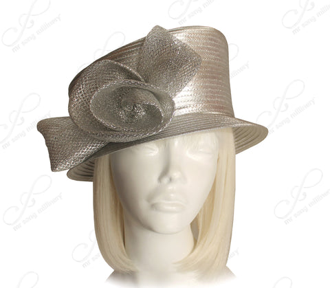 Small Width Brim Hat With Slant Top Crown - Silver