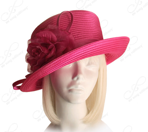 Medium Lampshade Brim Hat Brim With Organza Floral Accent - Bubble Gum Pink