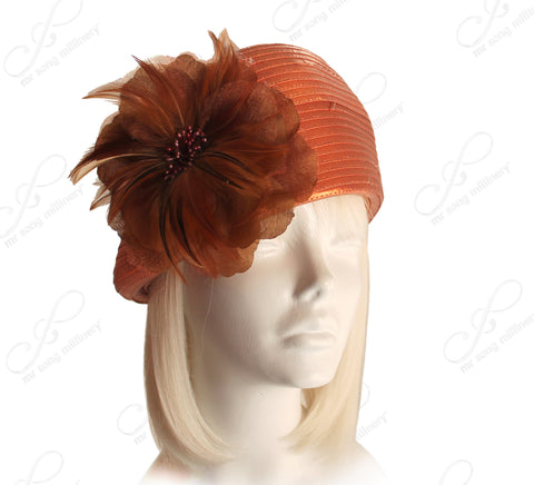 Beret Cloche Hat With Organza Floral Accent - Shimmery Orange