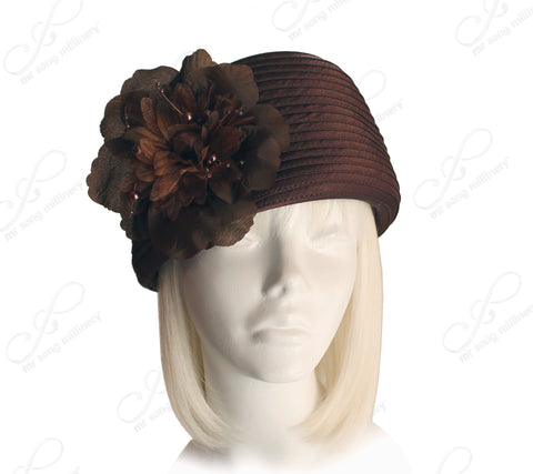 Beret Cloche Hat With Organza Floral Accent - 2 Colors