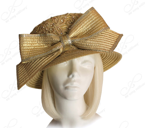 Small Brim Hat With Premium Lace And Knot Bow - Gold