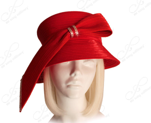Medium Lampshade Brim Hat Brim With Single Loop Bow - Red