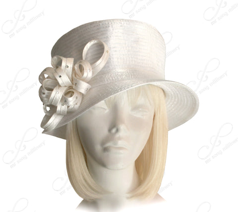 Flat Crown Small Brim With Floral Rhinestone Accent - White