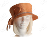 Flat Crown Small Brim With Crystal Rhinestones - Mango Orange