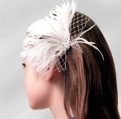 Veil & Feather Fascinator With Rhinestone Detail - 2 Colors