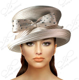 2 Tier Crown Medium Tiffany Brim With Rhinestoned Bow - Q40