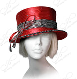 Mr. Song Millinery All-Season Small Brim Hat With Crystal Rhinestones - Red