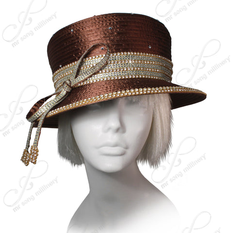 Mr. Song Millinery All-Season Small Brim Hat With Crystal Rhinestones - Brown