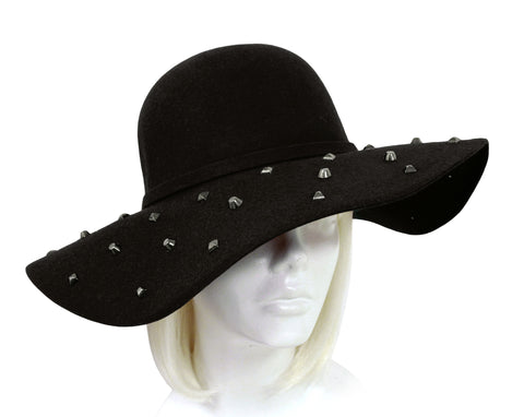 Mr. Song Millinery Felt Wide Brim Floppy Hat - Black