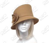Softest Felt Bucket Cloche Hat With Slant Top Crown - Camel Beige