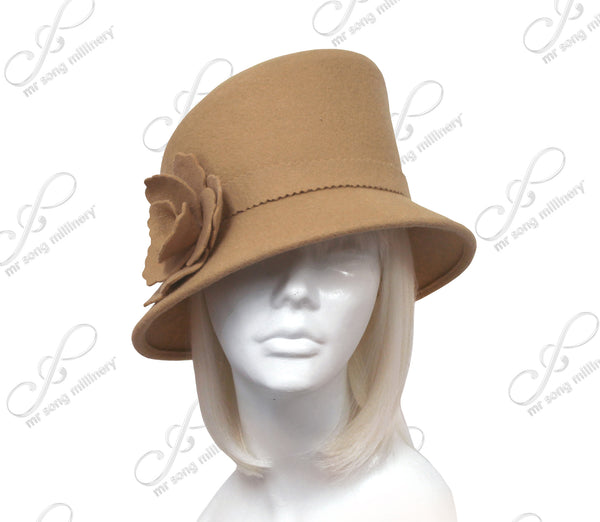 Mr. Song Millinery Softest Felt Bucket Cloche Hat With Slant Top Crown - Camel Beige