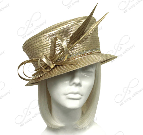 Small Width Brim Slant Style Crown Hat With Custom Accent - 2 Colors