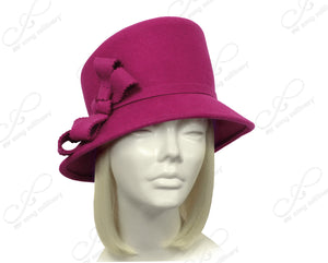 Mr. Song Millinery Soft-As-Cashmere Felt Bucket Cloche With Slant Crown - Magenta Pink