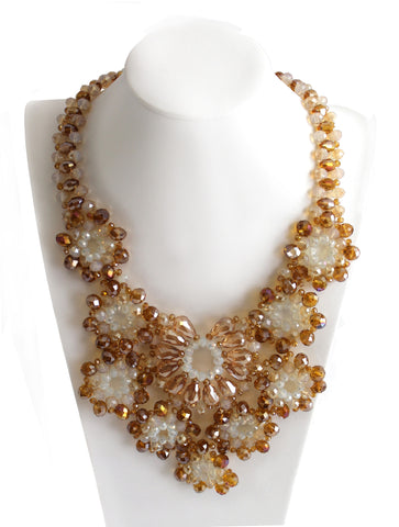 Starburst Necklace Earrings Jewelry Set -  Amber Opal