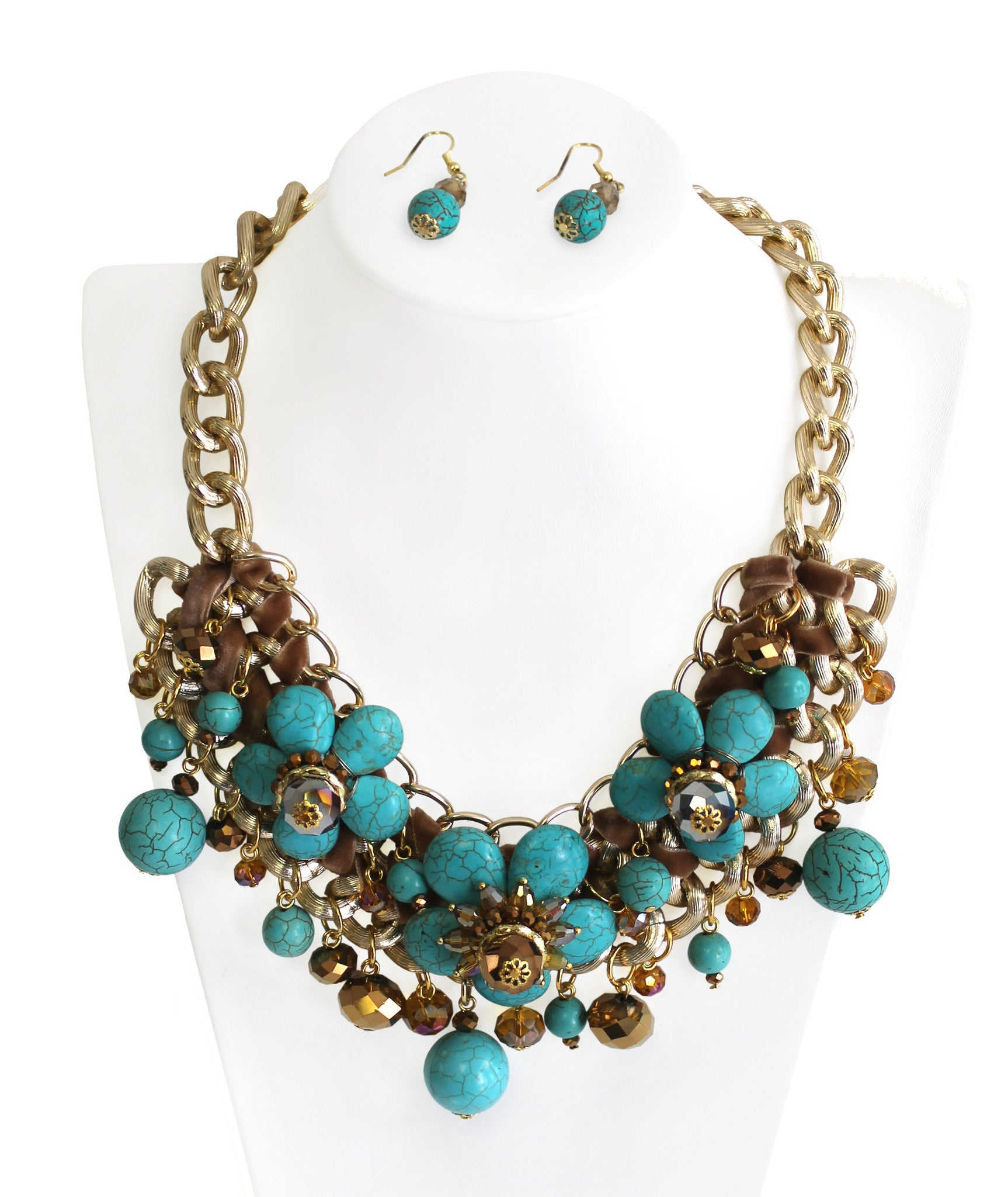 Mr. Song Millinery Necklace | Earrings Set - Turquoise