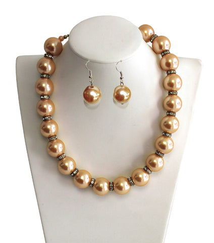 Necklace & Matching Earrings With Crystal Rhinestone Accents - 3 Colors
