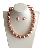 Necklace & Matching Earrings With Crystal Rhinestone Accents - 6 Colors