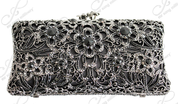 Mr. Song Millinery Molded Crystal Rhinestone Clutch Handbag Purse - 2 Colors
