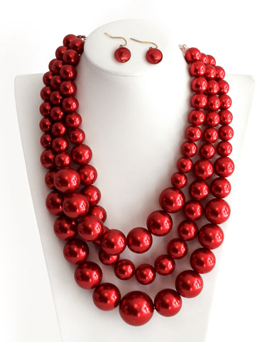 Red Beaded Mulit-Layer Necklace Earrings Jewelry Set