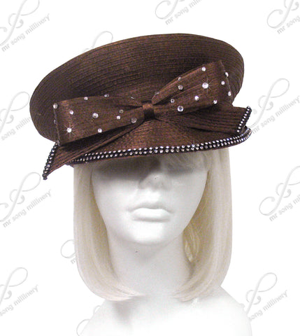 """Caption"" Bib Hat With Rhinestone Bow - 5 Colors"