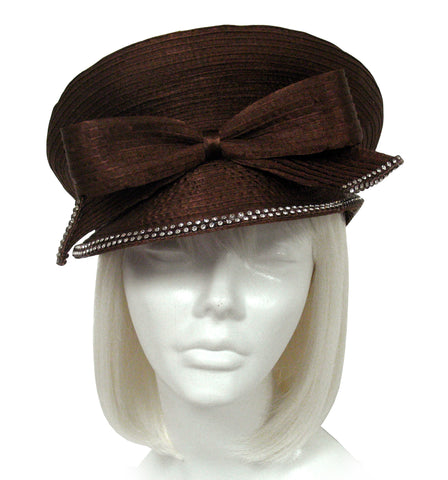 """Caption"" Bib Hat with Bow -  Brown"