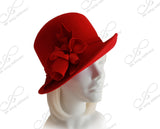 Luxuriously-Soft Felt Bucket Fedora Style Hat With Silk Floral Accent - Red