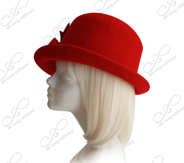 Mr. Song Millinery Luxuriously-Soft Felt Bucket Fedora Style Hat With Silk Floral Accent - Red