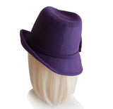 Felt Fedora with Bias Slant Brim - Purple