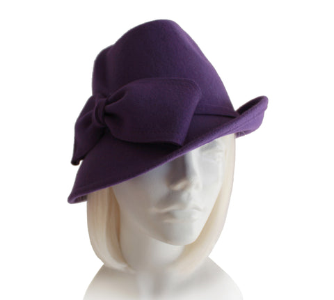 Mr. Song Millinery Felt Fedora with Bias Slant Brim - Purple