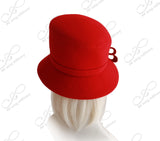 Soft Felt Slant Crown Bucket Cloche - Red