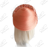 Mr. Song Millinery Beret Cloche Hat With Premium Lace - Peach