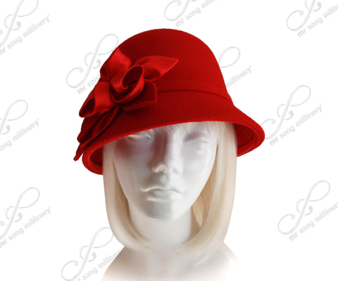 Softest Felt Bell Cloche Bucket Style Hat With Rosettes - Red