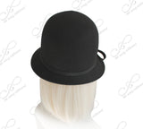 Felt Bucket Cloche Hat With Simple Accent - Black