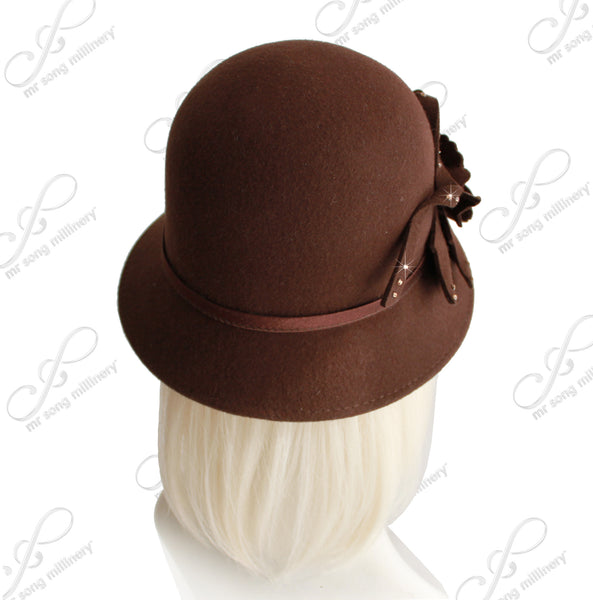 Mr. Song Millinery Softest Felt Bell Cloche Bucket Hat - Brown