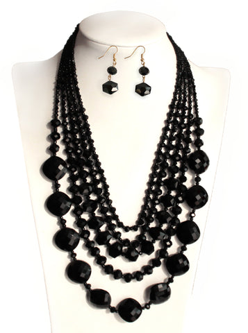 Jewel-Cut Multi-Layer & Shape Necklace + Earrings - Black