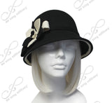Soft As Cashmere Felt Fedora Bucket Cloche Hat - Black/White