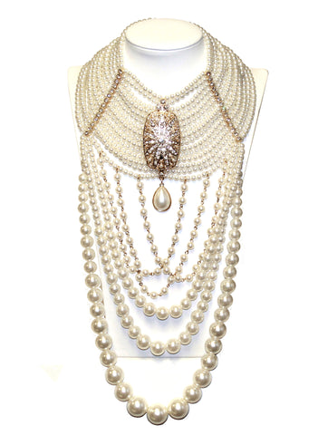 Victorian Style Multiple Layer Gold Tone Rhinestone Accent Necklace Earring Set - Pearl/Gold