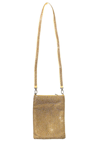 Crystal Rhinestoned Messenger Tote Hand Bag - 2 Colors