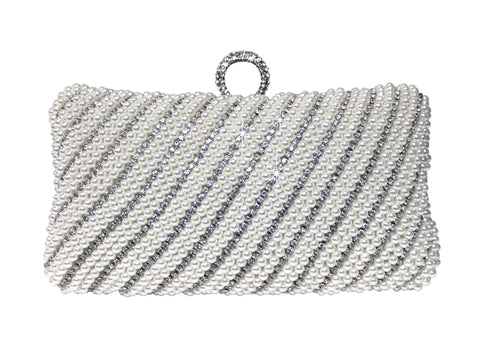 Molded Clutch Handbag Purse With Detachable Chain Strap - Pearl/Crystal