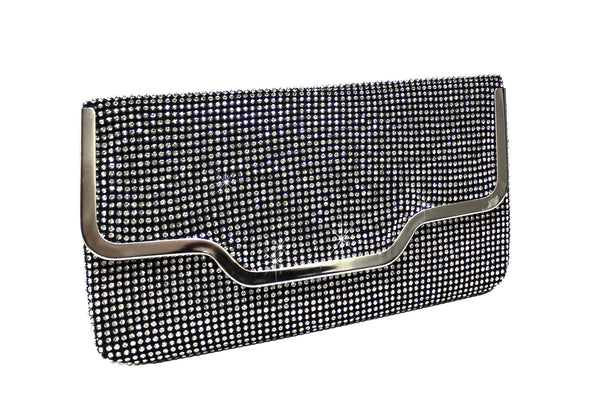 Mr. Song Millinery Crystal Rhinestone Pavéd Envelope Clutch Handbag Purse - 2 Colors