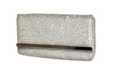 Crystal Rhinestone Pavéd Envelope Clutch Handbag Purse - 2 Colors